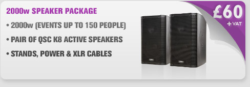 2000w QSC K8 Speaker Package With Cables & Stands