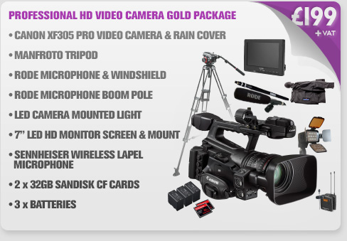 Canon XF305 Professional HD Video Camera Gold Package