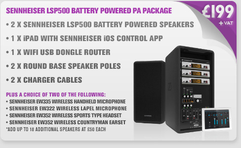 Sennheiser LSP500 Battery Powered PA Package